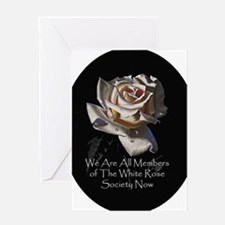 WhiteRoseOval Greeting Card