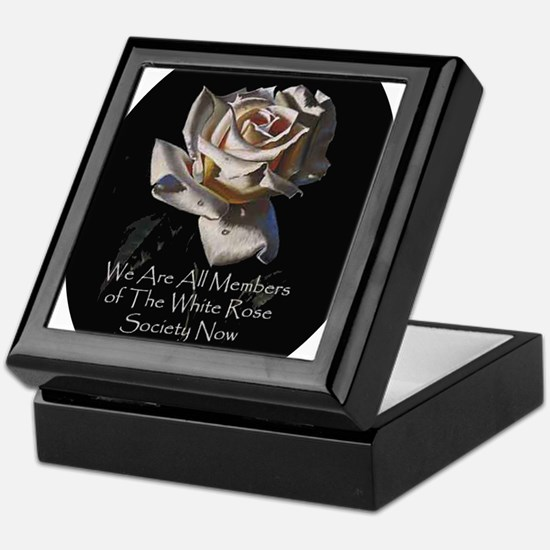 WhiteRoseOval Keepsake Box