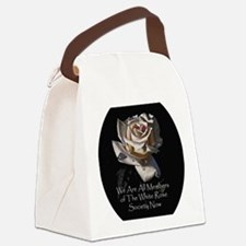 WhiteRoseOval Canvas Lunch Bag