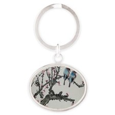 Pair of birds on a cherry branch Oval Keychain