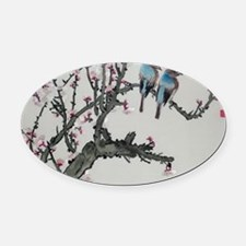 Pair of birds on a cherry branch Oval Car Magnet