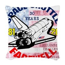 Space Shuttle_Farewell_10x10in Woven Throw Pillow