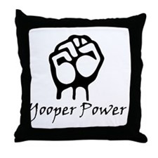 Blk_Yooper_Power_Fist.gif Throw Pillow
