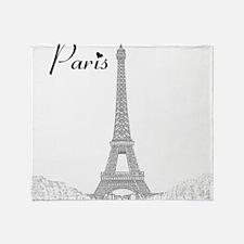 EiffelTower_10x10_apparel_BlackOutli Throw Blanket