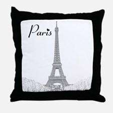 EiffelTower_10x10_apparel_BlackOutlin Throw Pillow
