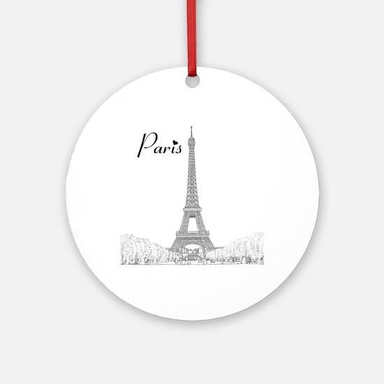 EiffelTower_10x10_apparel_BlackOutl Round Ornament