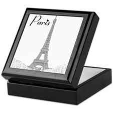 EiffelTower_10x10_apparel_BlackOutlin Keepsake Box