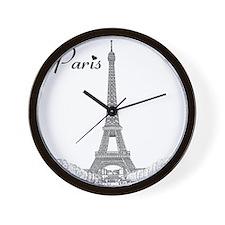 EiffelTower_10x10_apparel_BlackOutline Wall Clock