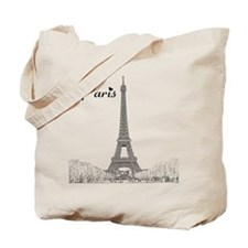 EiffelTower_10x10_apparel_BlackOutline Tote Bag