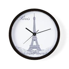 EiffelTower_10x10_apparel_BlueOutline Wall Clock