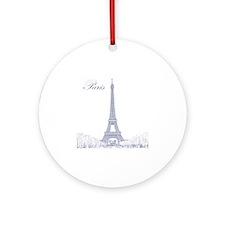 EiffelTower_10x10_apparel_BlueOutli Round Ornament