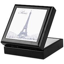 EiffelTower_10x10_apparel_BlueOutline Keepsake Box