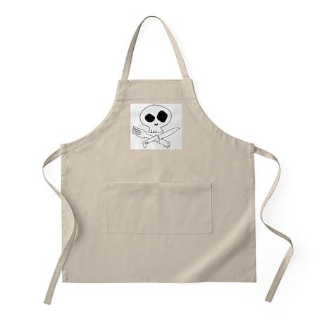 White Foodie Skull BBQ Apron