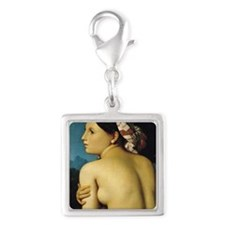 Female Nude 1807 by Ingres Silver Square Charm