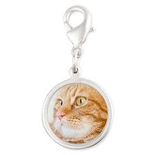Orange Cat Silver Round Charm