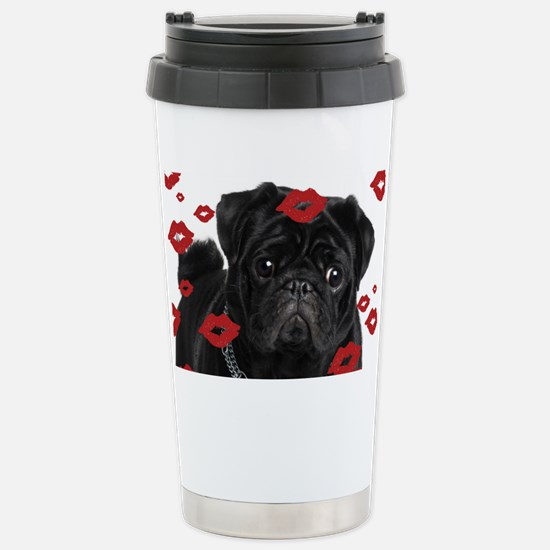 Pugs and Kisses 5x7 Stainless Steel Travel Mug