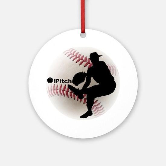 iPitch Baseball Round Ornament