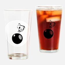 8 ball man ornament Drinking Glass
