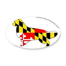 Maryland State Flag Golden Retriev Oval Car Magnet