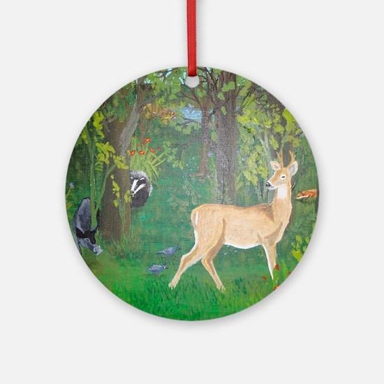 Woodland Animals Round Ornament
