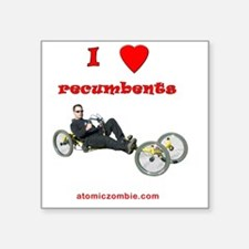"I love recumbents on dark s Square Sticker 3"" x 3"""