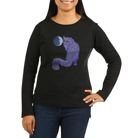 Night Cat Women's Long Sleeve Dark T-Shirt
