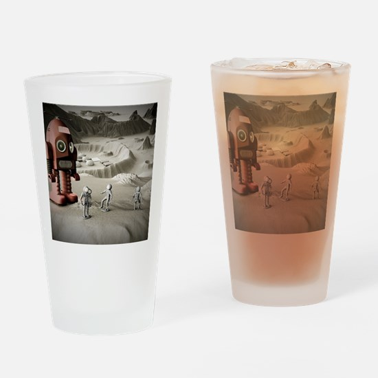Thunder Robot and Toy Spacemen Retr Drinking Glass