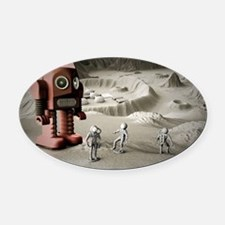 Thunder Robot and Toy Spacemen Ret Oval Car Magnet