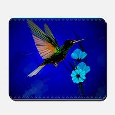 Green Hummingbird-Blue Flowers-Yardsign Mousepad