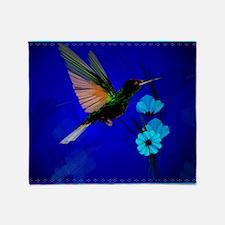 Green Hummingbird-Blue Flowers-Yards Throw Blanket