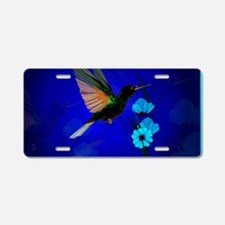 Green Hummingbird-Blue Flow Aluminum License Plate