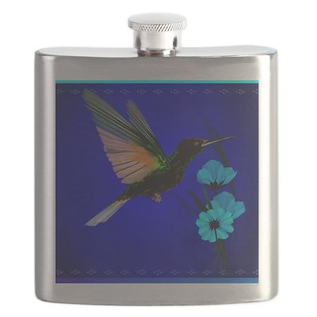Green Hummingbird-Blue Flowers 11 Flask