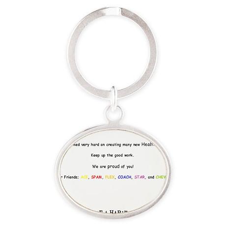 notecard all Oval Keychain