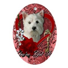 Valentine_Red_Rose_West_Highland_Ter Oval Ornament