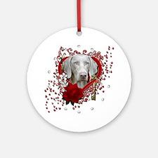 Valentine_Red_Rose_Weimeraner_Blue Round Ornament