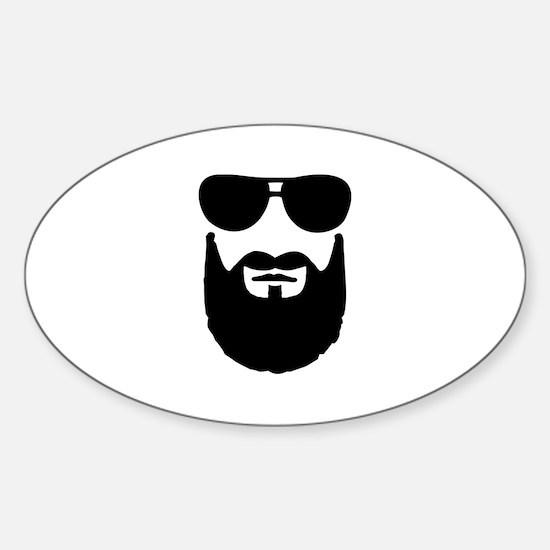 Full beard sunglasses Sticker (Oval)