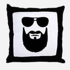 Full beard sunglasses Throw Pillow