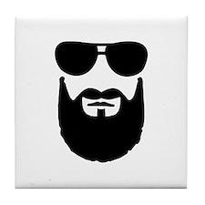 Full beard sunglasses Tile Coaster