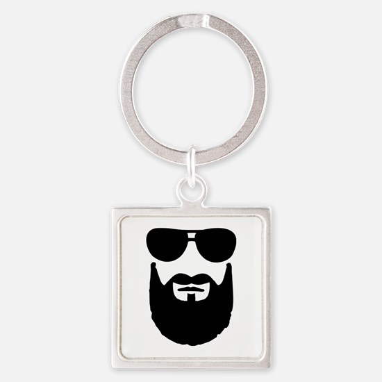 Full beard sunglasses Square Keychain