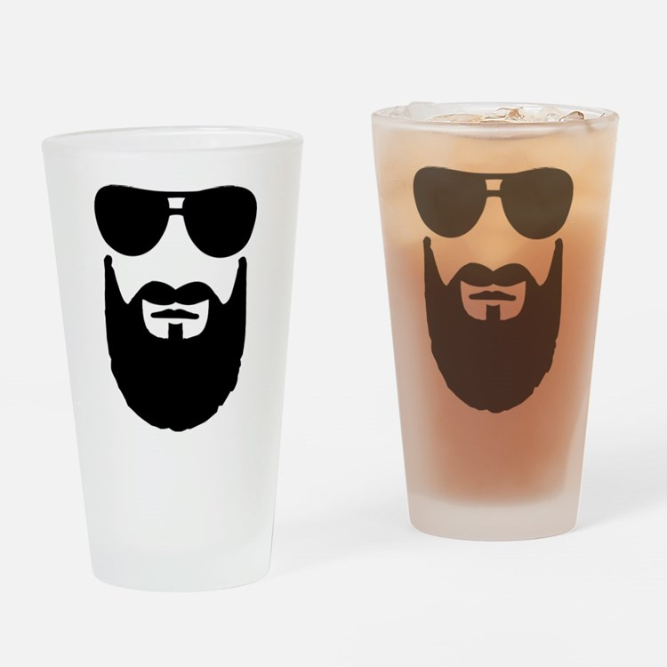 Full beard sunglasses Drinking Glass