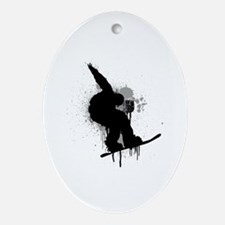 Snowboarder Ornament (Oval)