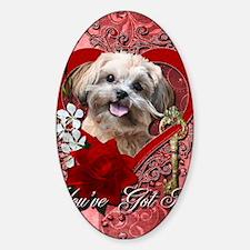 Valentine_Red_Rose_ShihPoo_Maggie Sticker (Oval)