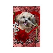 Valentine_Red_Rose_ShihPoo_Maggie Rectangle Magnet