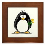 Yellow Rose Penguin Framed Tile