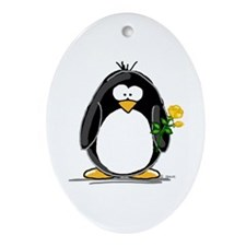 Yellow Rose Penguin Oval Ornament