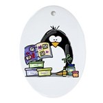 Scrapbook Penguin Oval Ornament