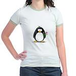Pink Rose Penguin Jr. Ringer T-Shirt