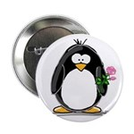 Pink Rose Penguin Button
