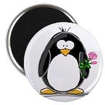Pink Rose Penguin Magnet