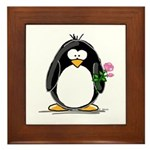 Pink Rose Penguin Framed Tile